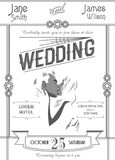 Modello della carta dell'invito di nozze di art deco sull'illustrazione bianca di vettore del fondo Immagine Stock