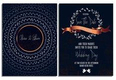 Modello della carta dell'invito di nozze Stampa pronta Salvo la data Immagine Stock Libera da Diritti