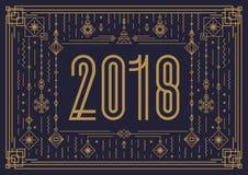 Modello della carta di Buon Natale con il segno 2018 e lo stile di art deco dell'oro del giocattolo del nuovo anno Fotografie Stock Libere da Diritti
