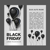 Modello della carta di sconto di Black Friday Aerostati del nero piano per la grandi aletta di filatoio, copertura ed insegna di  Fotografia Stock