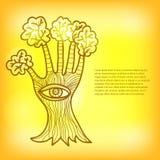 Modello della carta per progettazione con l'albero stilizzato Fotografia Stock