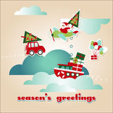 Modello della cartolina d'auguri del nuovo anno e di Natale Fotografia Stock