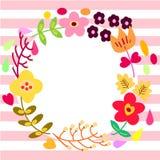 Modello della cartolina d'auguri della corona del fiore Immagine Stock Libera da Diritti