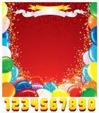 Modello della cartolina d'auguri di compleanno Fotografie Stock