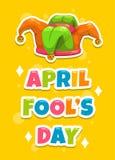 Modello della cartolina d'auguri di giorno di April Fool s Fotografia Stock Libera da Diritti