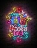 Modello della cartolina d'auguri per il giorno del ` s di April Fool illustrazione di stock