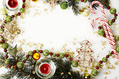 Modello della cartolina di Natale Fotografia Stock