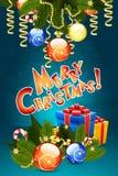 Modello della cartolina di Natale Fotografie Stock