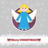 Modello della cartolina di Natale con l'angelo Immagine Stock