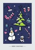 Modello della cartolina di Natale con la grande raccolta Fotografie Stock