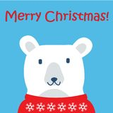 Modello della cartolina di Natale illustrazione con l'orso polare Accumulazione di nuovo anno Accogliere stagionale per scrapbook Fotografia Stock Libera da Diritti
