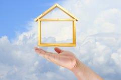 Modello della casa di tocco della mano Immagini Stock Libere da Diritti