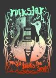 Modello della chitarra, progettazione della maglietta illustrazione di stock