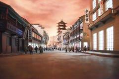 Modello della città nel museo municipale di storia di Shanghai Fotografia Stock