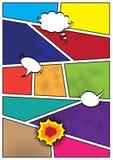 Modello della disposizione dello spazio in bianco di stile del popart dei fumetti Fotografie Stock