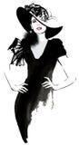 Modello della donna di modo con un black hat Fotografie Stock