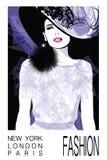 Modello della donna di modo con un black hat Illustrazione Vettoriale