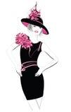 Modello della donna di modo con un black hat Immagini Stock Libere da Diritti