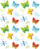 Modello della farfalla e della libellula di stile del fumetto Farfalle variopinte nel vettore Fondo puerile piacevole Fotografia Stock Libera da Diritti