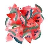 Modello della fetta dell'acquerello di anguria per la carta o il tessuto S Fotografia Stock Libera da Diritti