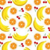 Modello della frutta con l'arancia, la banana e la ciliegia Fotografia Stock Libera da Diritti
