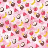 Modello della frutta dell'acquerello Illustrazione tropicale Fondo della frutta dell'acquerello Fotografia Stock Libera da Diritti