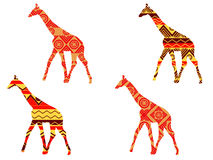 Modello della giraffa Giraffa nello stile etnico Insieme delle giraffe Fotografie Stock
