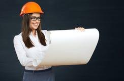Modello della lettura dell'architetto della donna dello studente Fotografie Stock