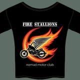 Modello della maglietta del motociclista Immagini Stock Libere da Diritti