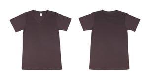 Modello della maglietta messo (parte anteriore, parte posteriore) Fotografie Stock