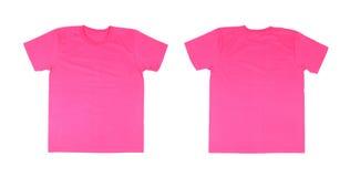 Modello della maglietta messo (parte anteriore, parte posteriore) Fotografia Stock