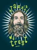 Modello della maglietta o del manifesto con il ritratto barbuto dell'uomo Immagini Stock Libere da Diritti