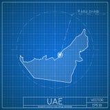 Modello della mappa del modello dei UAE con la capitale Fotografia Stock Libera da Diritti