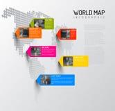 Modello della mappa di mondo con i perni della foto Fotografie Stock