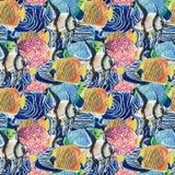 Modello della moltitudine densa colorata dell'acquerello tropicale del pesce Immagini Stock Libere da Diritti
