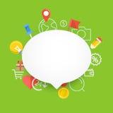 Modello della nuvola di discorso con differenti icone Fotografia Stock
