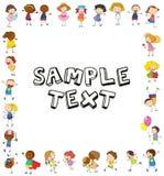 Modello della pagina con i bambini felici illustrazione di stock