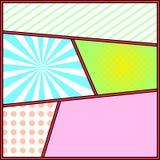 Modello della pagina del fondo dei fumetti della struttura di Pop art Fotografia Stock