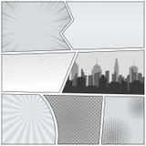 Modello della pagina del libro di fumetti Immagine Stock