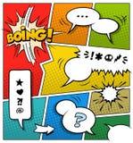 Modello della pagina del libro di fumetti di colore Fotografia Stock Libera da Diritti