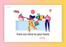 Modello della pagina di atterraggio dell'acquisto di vendita del deposito Acquisto della donna con il concetto della carta di sco illustrazione di stock