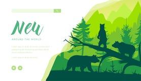 Modello della pagina di atterraggio della fauna selvatica della foresta illustrazione di stock