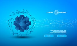 Modello della pagina di atterraggio di tecnologia Insegna poligonale con un poli ingranaggio basso su fondo blu royalty illustrazione gratis