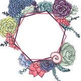 Modello della partecipazione di nozze Bello modello dei succulenti con colorato Fotografia Stock Libera da Diritti