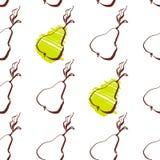 Modello della pera del fumetto con i frutti disegnati a mano Modello sveglio della pera di vettore Fotografia Stock Libera da Diritti