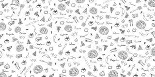 Modello della pizza Fondo della pizza nello stile di scarabocchio Illustrazione di vettore illustrazione vettoriale