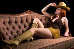 Modello della ragazza del cowboy Immagini Stock
