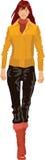 Modello della ragazza in rivestimento e jeans Immagini Stock