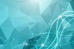Modello della rete di scienza, binari di raccordo e punti La struttura di esagoni della tecnologia o molecolari collega gli eleme illustrazione vettoriale