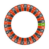 Modello della ruota del casinò delle roulette con zero su fondo bianco Vettore Immagini Stock Libere da Diritti
